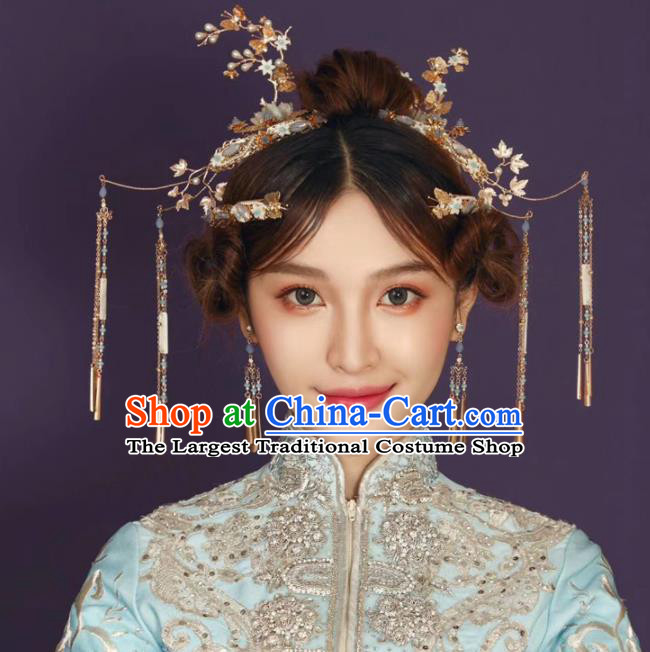 Top Chinese Traditional Wedding Hair Accessories Classical Tassel Hairpins Headdress for Women