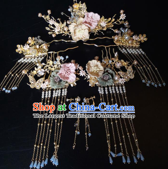 Top Chinese Traditional Hair Accessories Classical Wedding Hairpins Tassel Hair Combs Headdress for Women