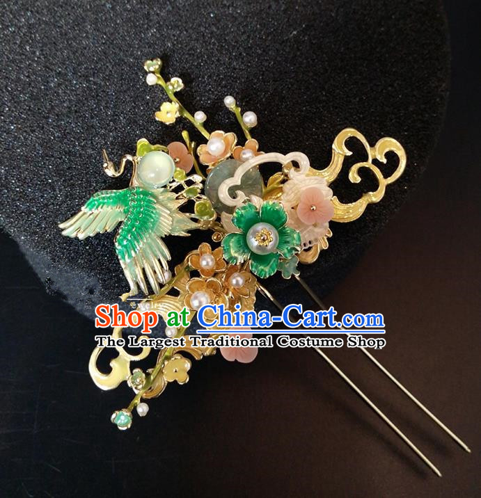 Top Chinese Traditional Hair Accessories Classical Wedding Crane Hairpins Headdress for Women