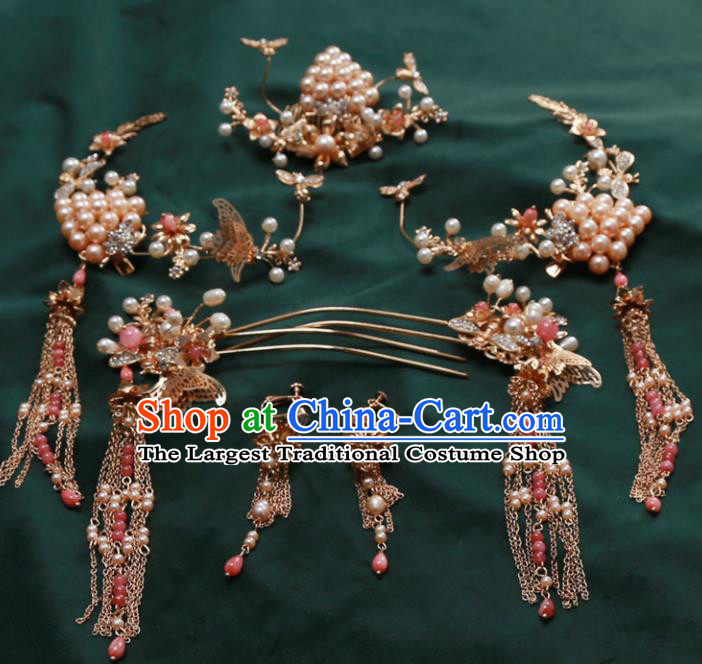 Top Chinese Traditional Wedding Hair Accessories Ancient Pearls Step Shake Hairpins Complete Set for Women