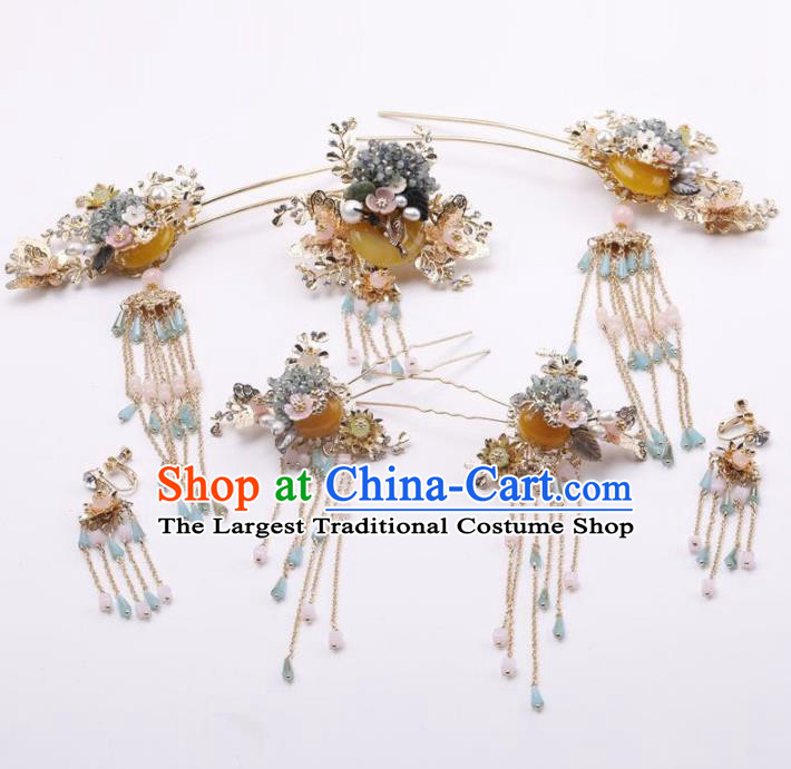Top Chinese Traditional Wedding Hair Accessories Ancient Palace Hairpins Complete Set for Women