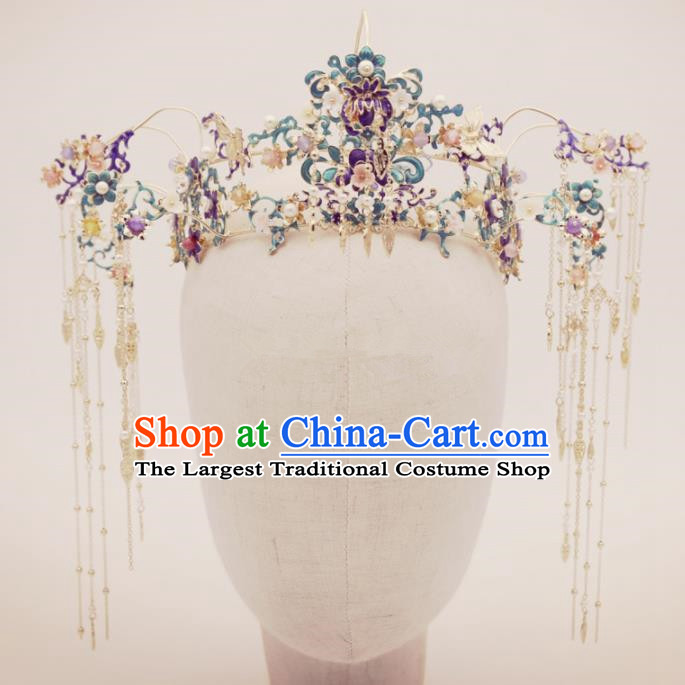 Top Chinese Traditional Wedding Hair Accessories Ancient Blueing Hair Combs Hairpins Complete Set for Women
