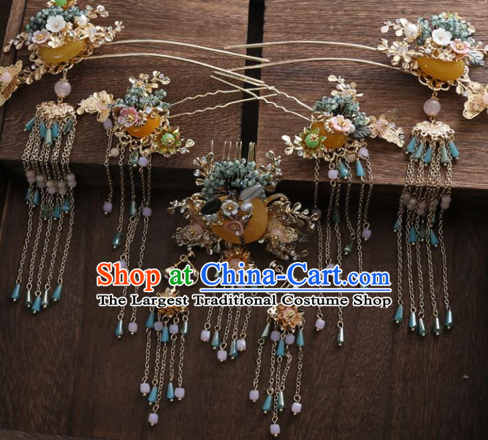 Top Chinese Ancient Traditional Wedding Hair Accessories Hair Combs Hairpins Complete Set for Women