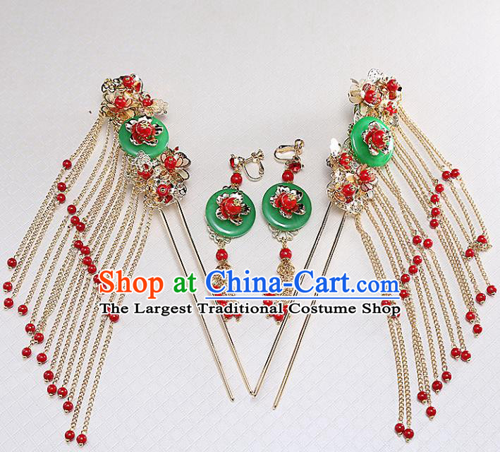Top Chinese Traditional Hair Accessories Ancient Classical Tassel Step Shake Palace Jade Hairpins for Women