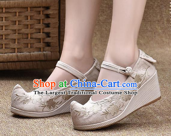 Chinese Shoes Wedding Shoes Traditional Embroidered Shoes Beige High Heeled Shoes for Women