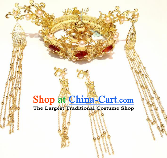 Top Chinese Traditional Wedding Hair Accessories Ancient Classical Palace Phoenix Coronet Hairpins Headdress for Women