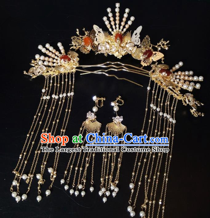 Top Chinese Traditional Wedding Hair Accessories Ancient Classical Tassel Hairpins Headdress for Women