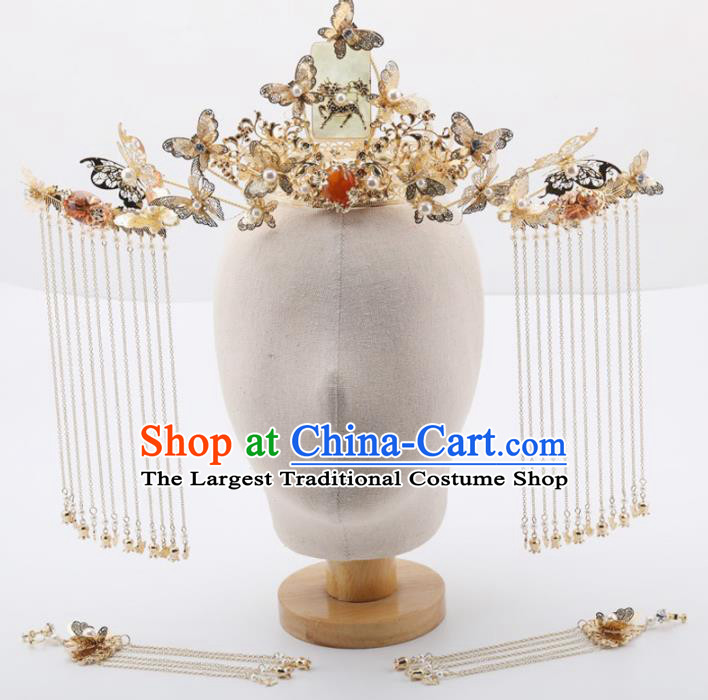 Top Chinese Traditional Wedding Hair Accessories Ancient Palace Butterfly Jade Phoenix Coronet Hairpins for Women