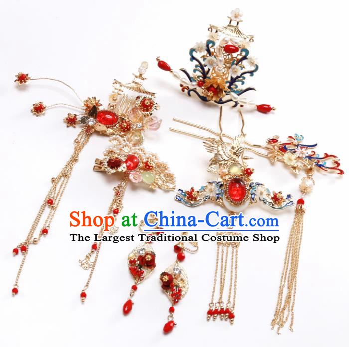 Top Chinese Traditional Hair Accessories Ancient Classical Palace Blueing Phoenix Hairpins Complete Set for Women