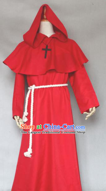 Top Grade Halloween Priest Costumes Fancy Ball Cosplay Pastor Red Clothing for Men