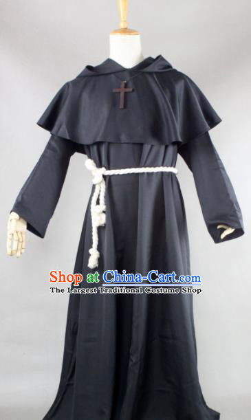 Top Grade Halloween Priest Costumes Fancy Ball Cosplay Pastor Black Clothing for Men
