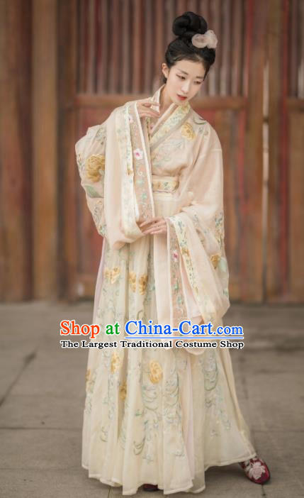 Chinese Ancient Imperial Consort Hanfu Dress Traditional Tang Dynasty Palace Lady Embroidered Replica Costumes for Women