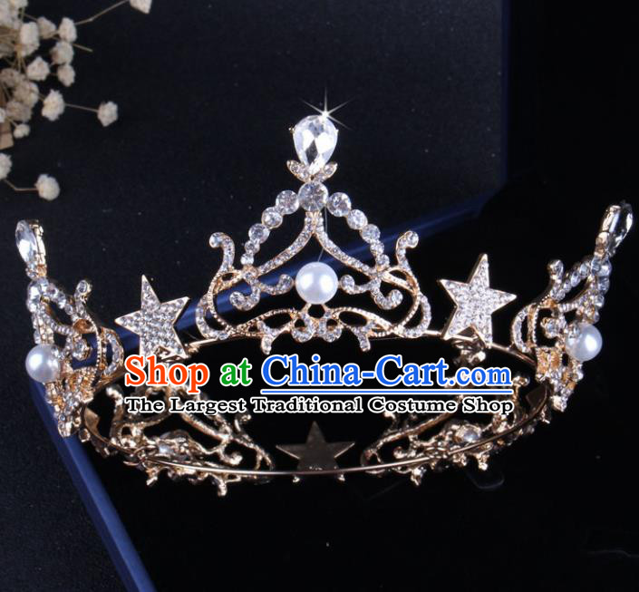 Top Grade Baroque Hair Accessories Catwalks Bride Crystal Royal Crown for Women
