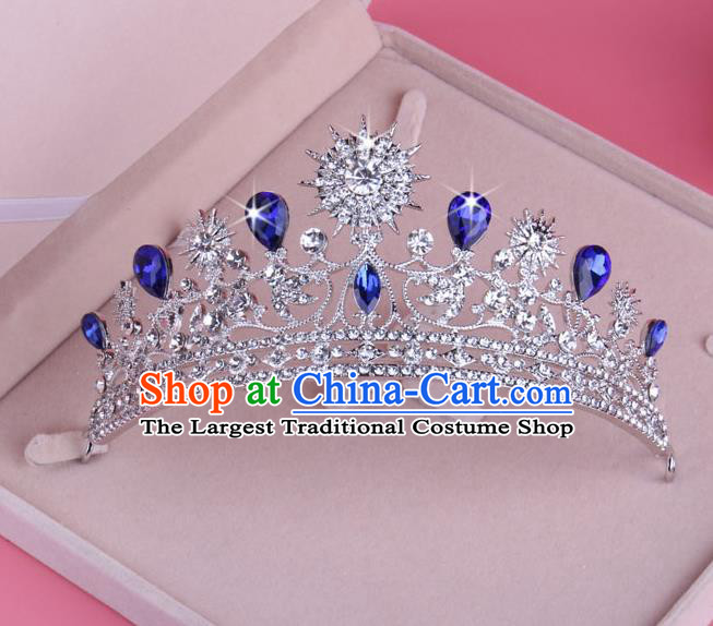 Top Grade Baroque Hair Accessories Catwalks Blue Crystal Zircon Royal Crown for Women
