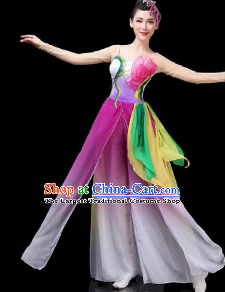 Chinese Traditional Classical Dance Costumes Fan Dance Group Dance Lotus Dance Purple Dress for Women