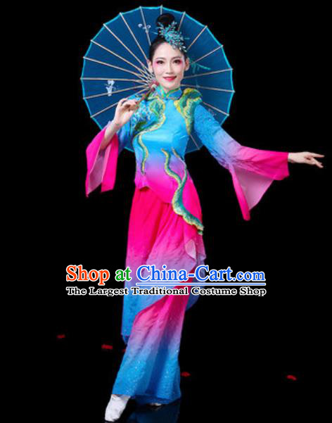 Chinese Traditional Folk Dance Costumes Fan Dance Yangko Group Dance Blue Clothing for Women