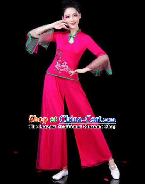 Chinese Traditional Folk Dance Costumes Fan Dance Yangko Drum Dance Rosy Mandarin Sleeve Clothing for Women