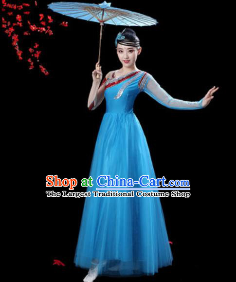Professional Modern Dance Costumes Stage Show Chorus Group Dance Blue Dress for Women