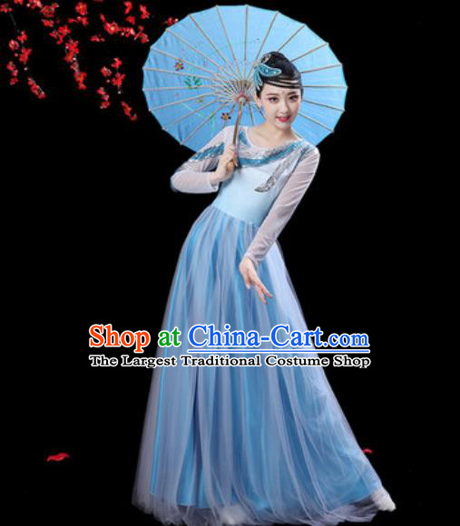 Professional Modern Dance Costumes Stage Show Chorus Group Dance Light Blue Dress for Women