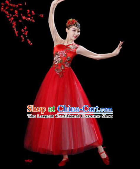 Top Grade Chorus Stage Show Group Dance Costumes Modern Dance Red Veil Dress for Women