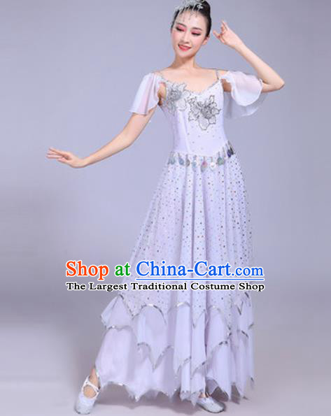 Professional Modern Dance Opening Dance White Dress Stage Show Chorus Costumes for Women