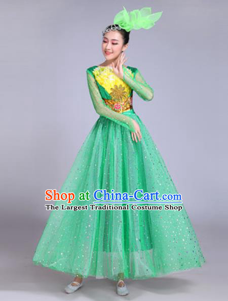 Professional Modern Dance Green Veil Dress Stage Show Chorus Group Dance Costumes for Women