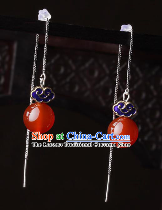 Chinese Traditional Jewelry Accessories National Hanfu Blueing Agate Earrings for Women