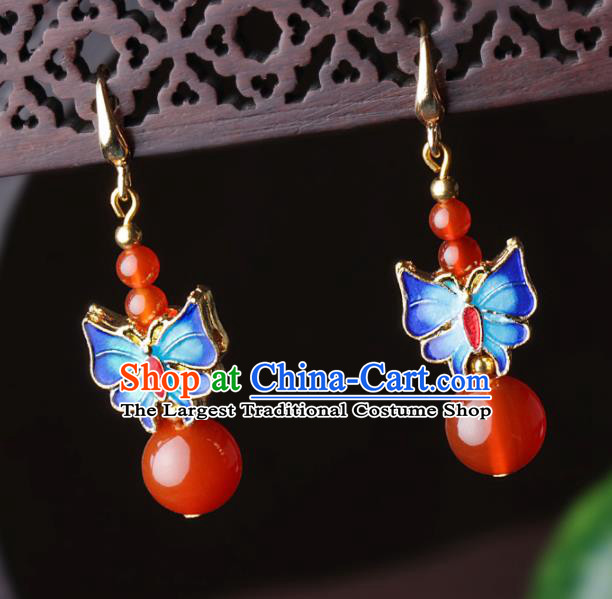 Chinese Traditional Jewelry Accessories National Hanfu Blueing Butterfly Agate Earrings for Women