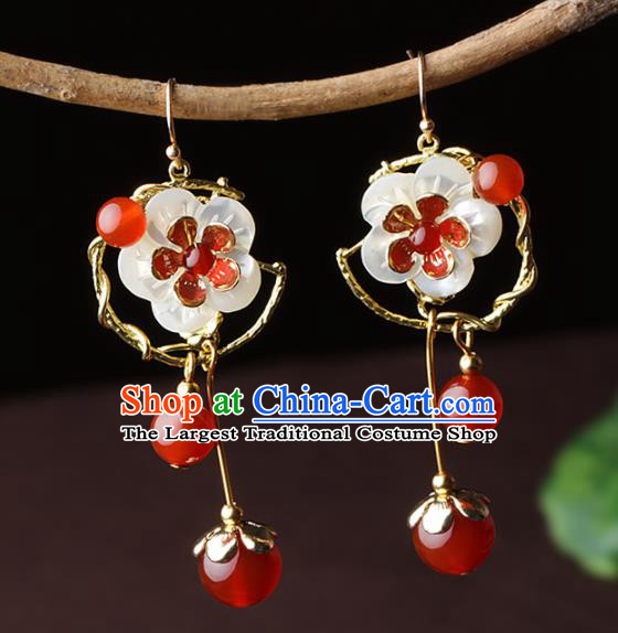 Chinese Traditional Jewelry Accessories National Hanfu Agate Shell Flowers Earrings for Women