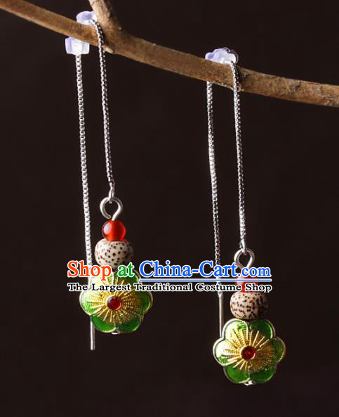 Chinese Traditional Jewelry Accessories National Hanfu Green Cloisonne Earrings for Women