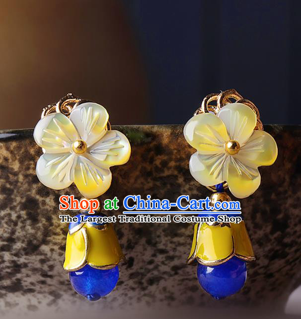 Chinese Traditional Jewelry Accessories National Hanfu Flowers Earrings for Women