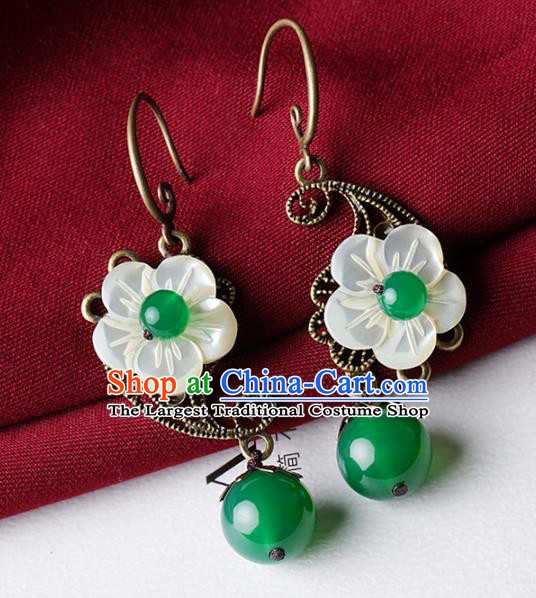 Chinese Traditional Jade Ear Jewelry Accessories National Hanfu Shell Flower Earrings for Women