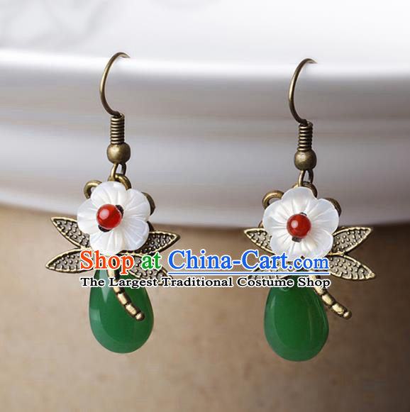 Chinese Traditional Jade Ear Jewelry Accessories National Hanfu Dragonfly Earrings for Women