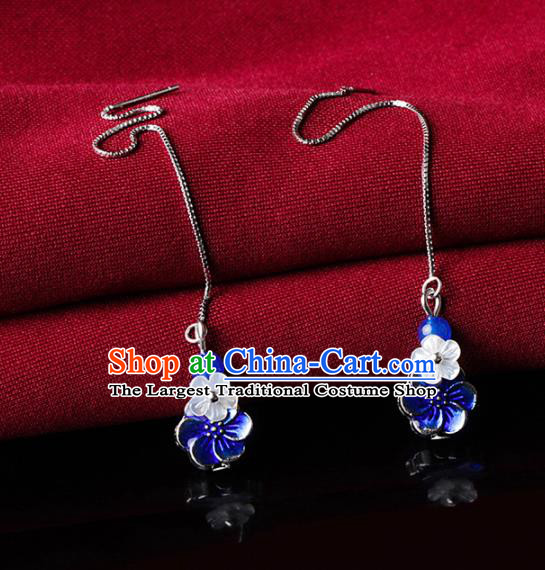Chinese Traditional Ear Jewelry Accessories National Hanfu Blueing Flower Earrings for Women