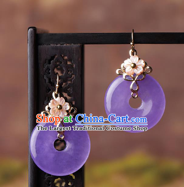 Chinese Traditional Ear Jewelry Accessories National Hanfu Purple Peace Buckle Earrings for Women