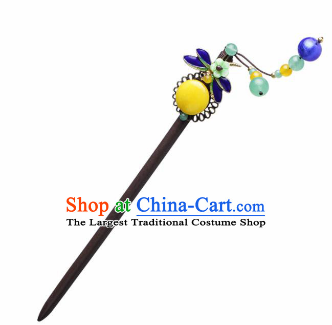 Chinese Traditional Hair Accessories National Hanfu Blueing Dragonfly Wood Hairpins for Women