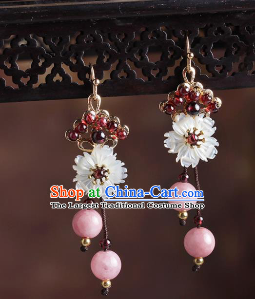 Chinese National Hanfu Classical Shell Flower Tassel Earrings Traditional Ear Jewelry Accessories for Women