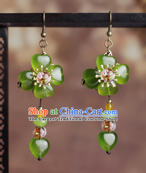 Chinese National Hanfu Classical Green Flower Tassel Earrings Traditional Ear Jewelry Accessories for Women
