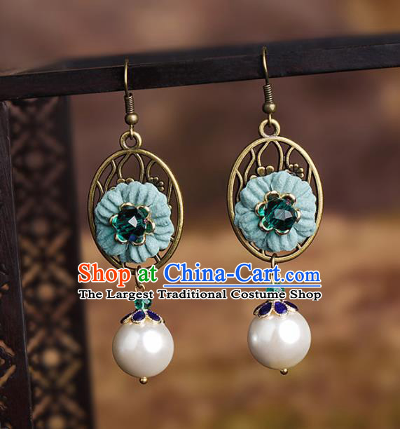 Chinese National Hanfu Classical Green Flower Earrings Traditional Ear Jewelry Accessories for Women