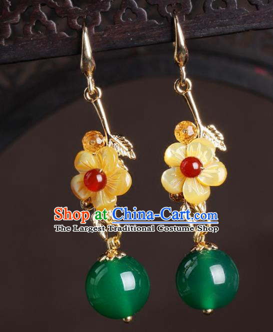 Chinese National Classical Hanfu Yellow Flower Earrings Traditional Jewelry Accessories for Women