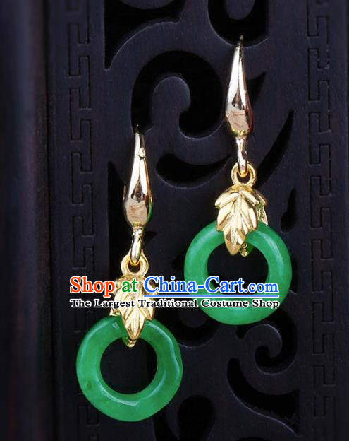 Chinese Yunnan National Classical Green Jade Earrings Traditional Ear Jewelry Accessories for Women