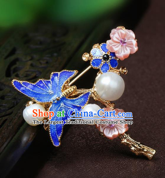 Chinese Traditional Breastpin Jewelry Accessories National Hanfu Blueing Butterfly Brooch for Women