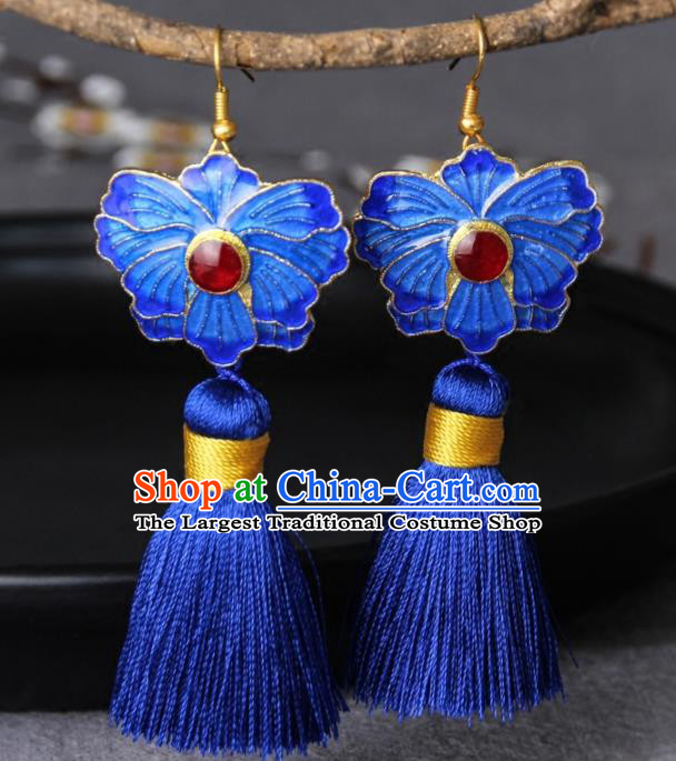 Chinese Yunnan National Classical Blueing Lotus Tassel Earrings Traditional Hanfu Ear Jewelry Accessories for Women