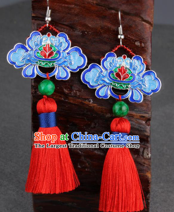 Chinese Yunnan National Classical Tassel Earrings Traditional Hanfu Blueing Lotus Ear Jewelry Accessories for Women