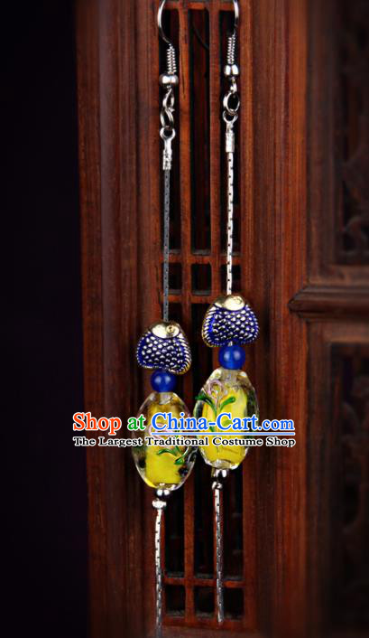 Chinese Yunnan National Classical Cloisonne Earrings Traditional Hanfu Ear Jewelry Accessories for Women