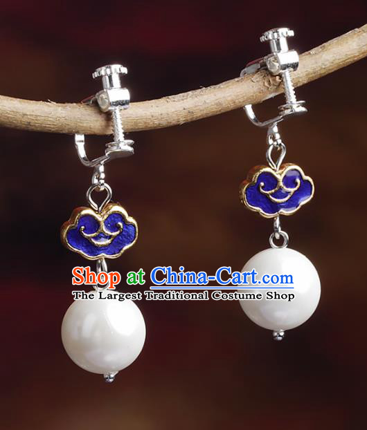 Chinese Yunnan National Cloisonne Earrings Traditional Classical Hanfu Ear Jewelry Accessories for Women