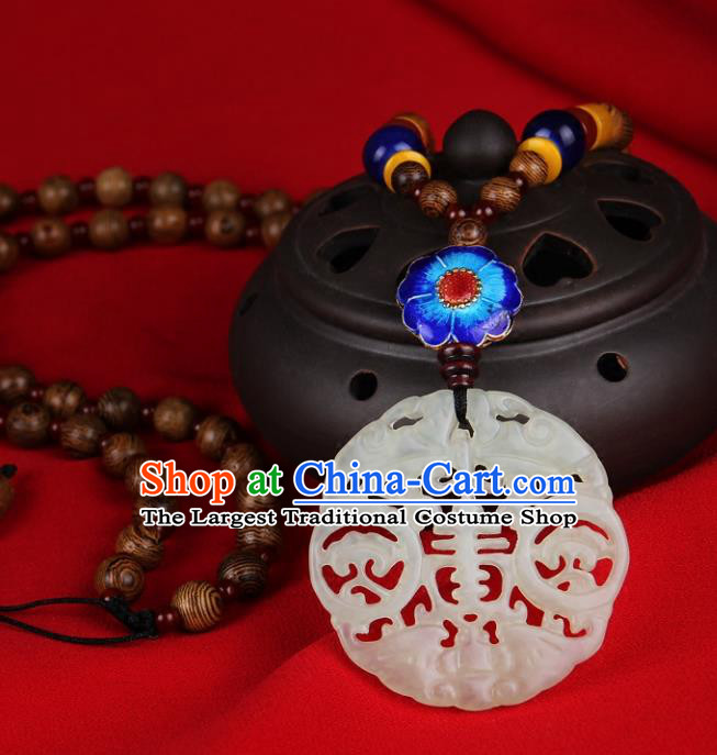 Chinese Yunnan National Jade Necklace Traditional Classical Hanfu Jewelry Accessories for Women