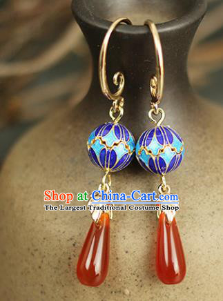 Chinese Handmade Cloisonne Earrings Traditional Classical Hanfu Ear Jewelry Accessories for Women