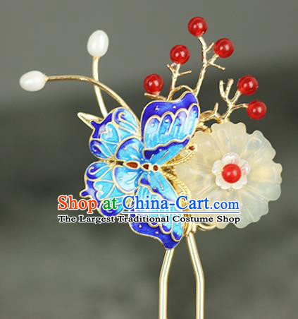 Handmade Chinese Traditional Cloisonne Butterfly Hairpins Traditional Classical Hanfu Hair Accessories for Women