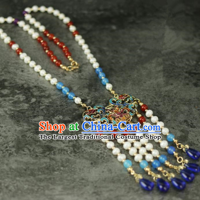 Handmade Chinese Traditional Cloisonne Necklace Traditional Classical Hanfu Necklet Jewelry Accessories for Women